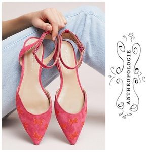 Anthropologie Embroidered Bow Ballet Flats 7.5